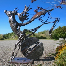 Fallow Leaping Dawn | Recycled Steel | 4' x 3' | Workshop Wales Gallery, Pembrokeshire.